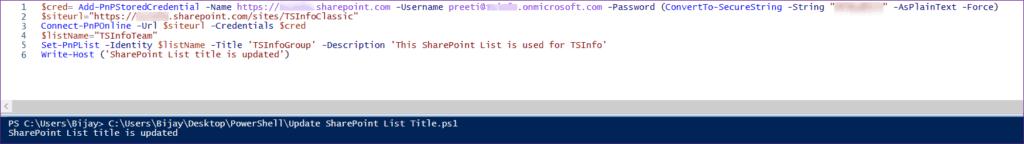 Update SharePoint Online List Title Using PnP PowerShell