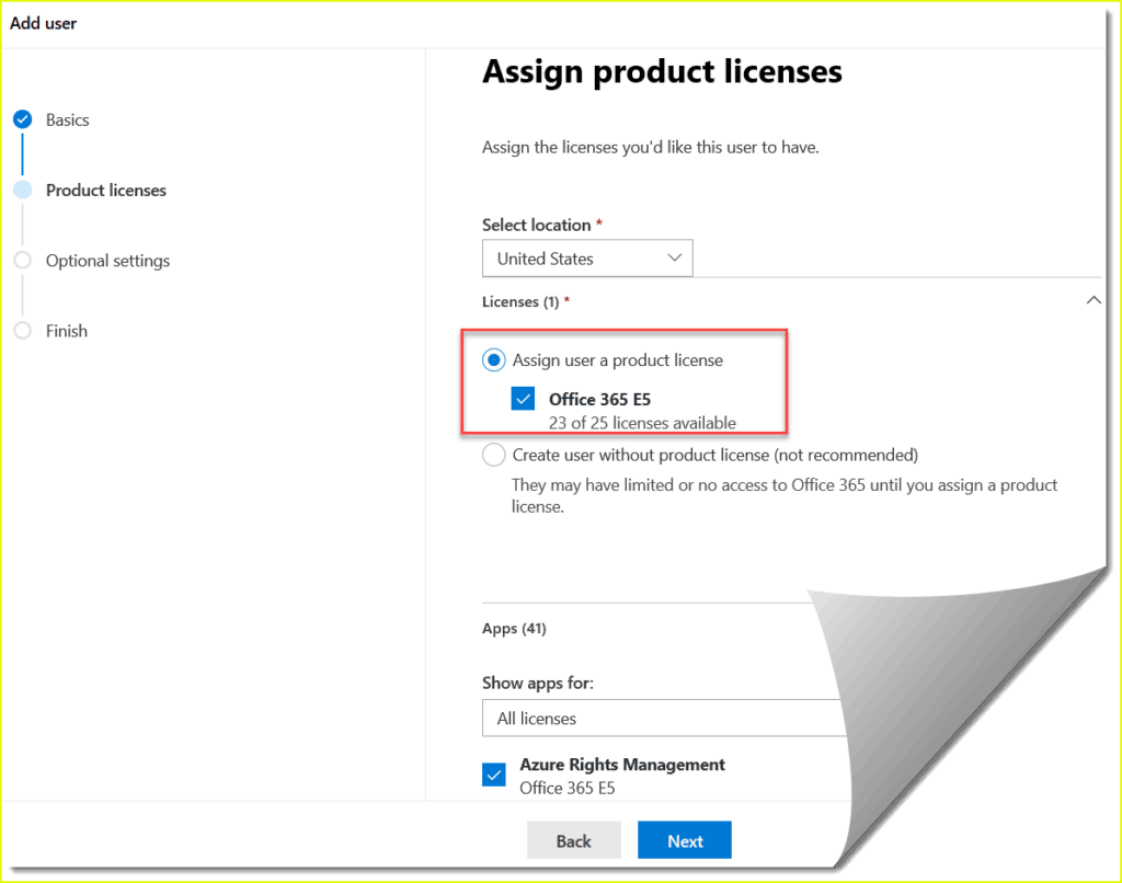 assign license to a new user in office 365