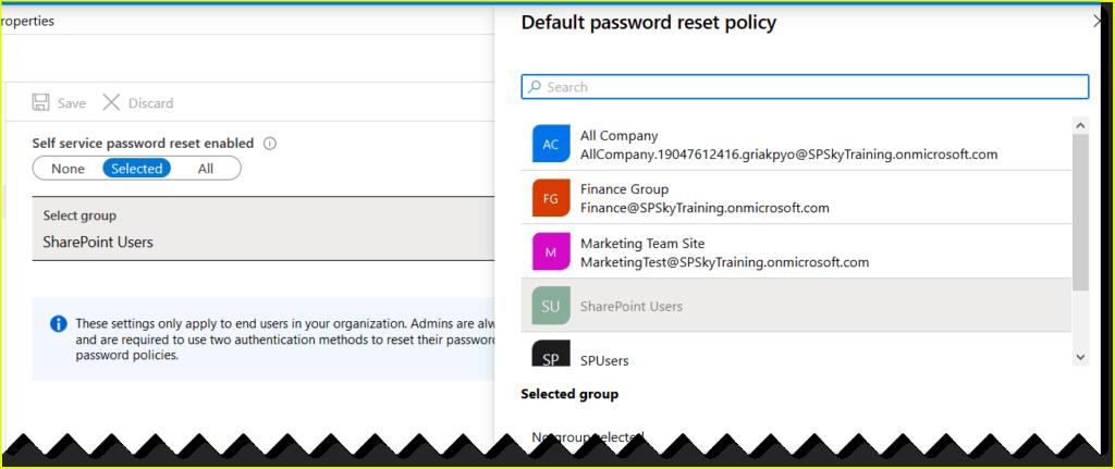 azure self-service password reset license