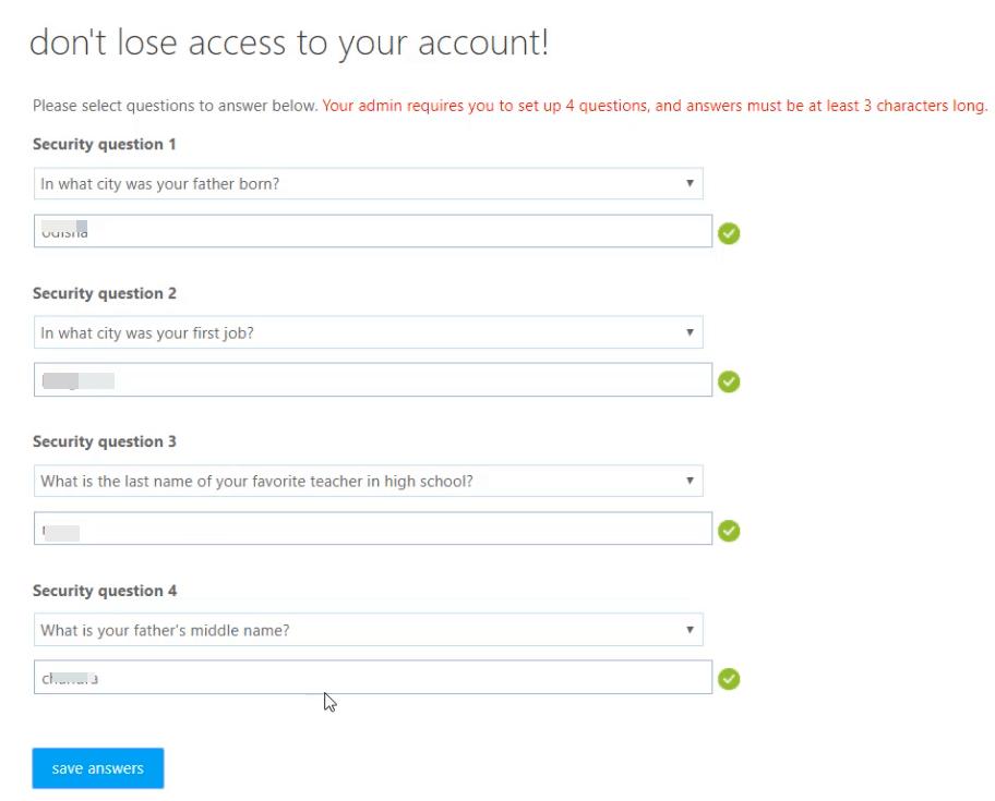 self-service password reset azure