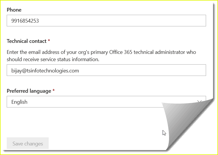 change contact details in office 365