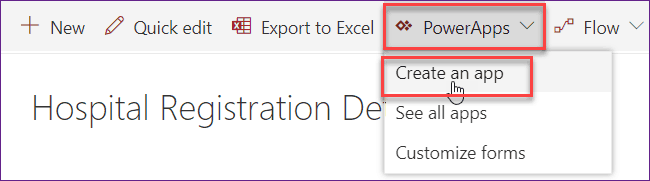 create a powerapps for sharepoint online list