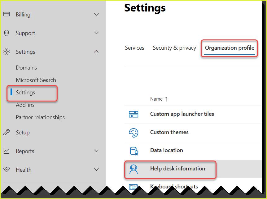 custom help desk contact info office 365