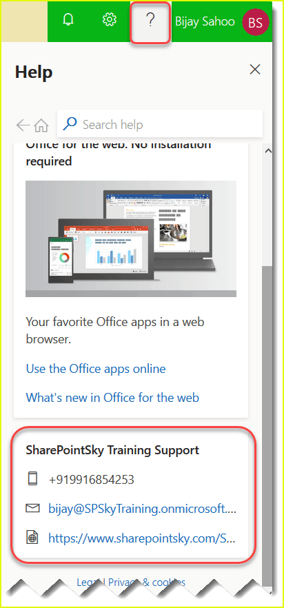 how to add customized help desk information office 365