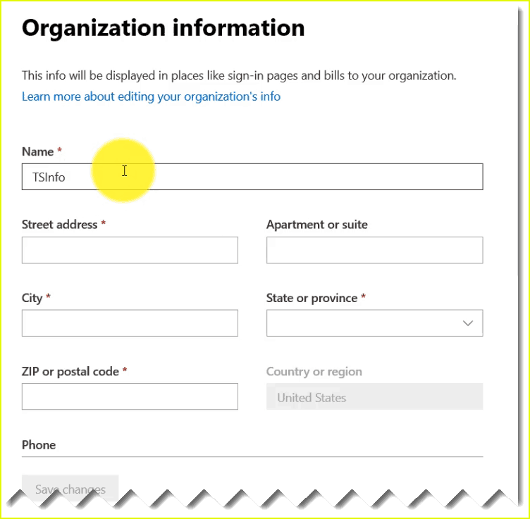 how to change organisation details in office 365