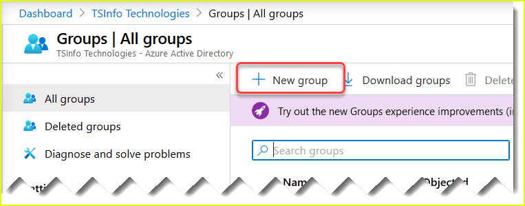 create azure active directory group