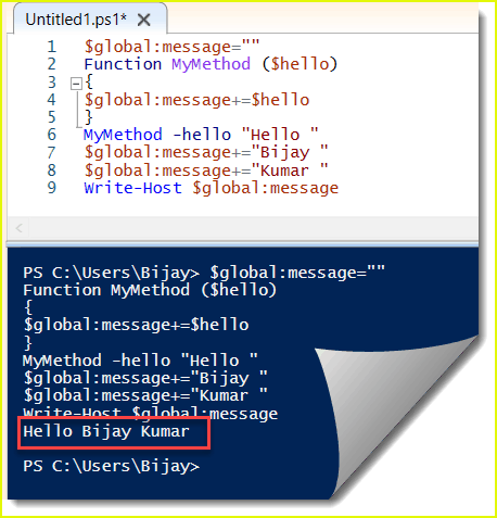 how to create powershell global variable