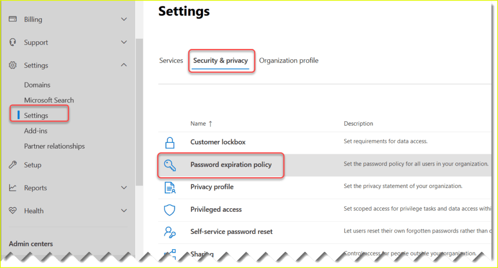 how to set up password expiration in office 365