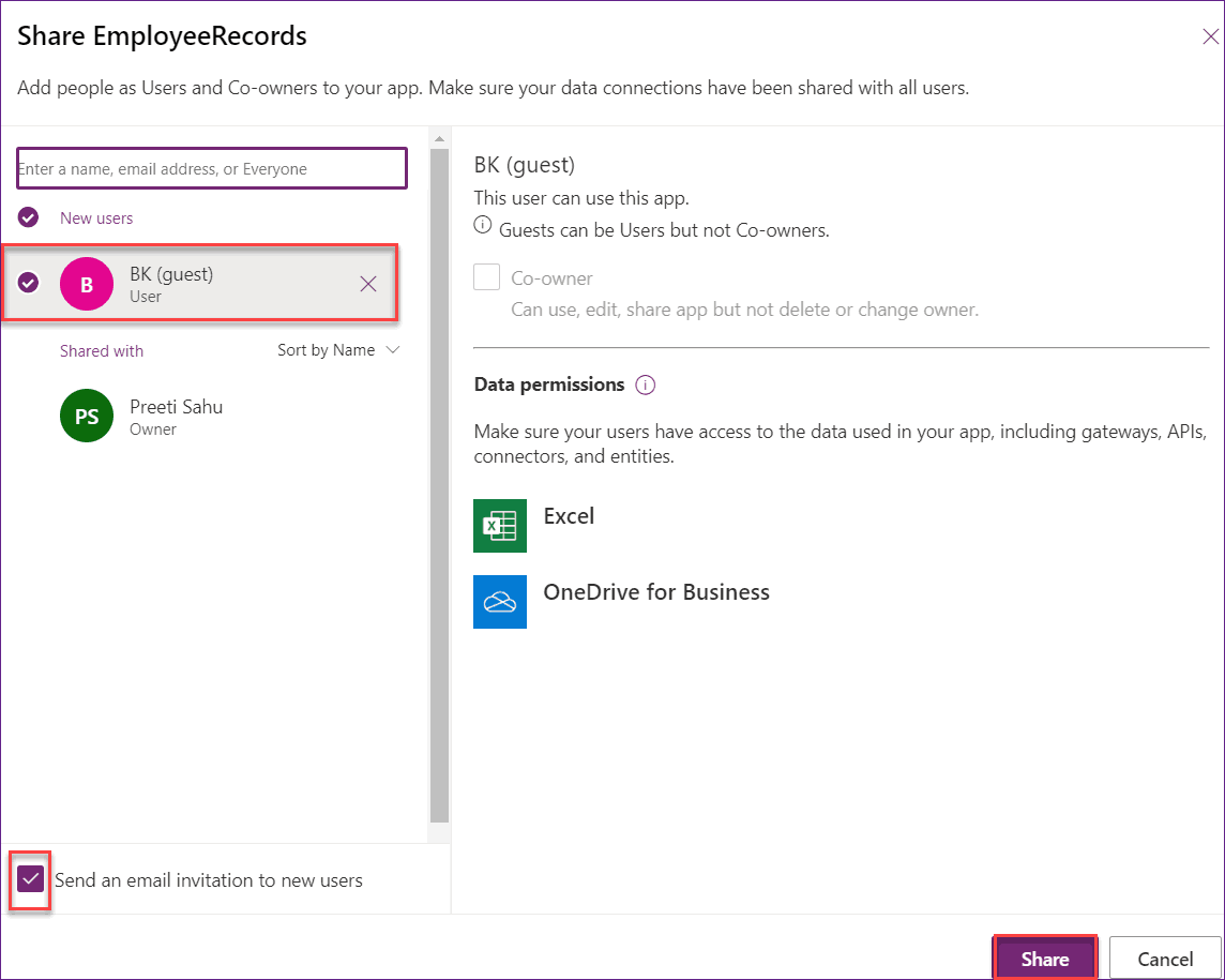 share powerapps with external users