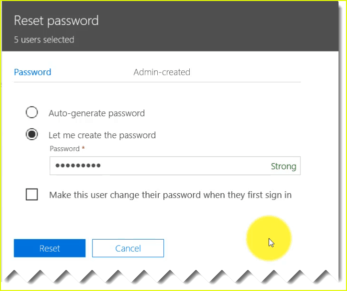 office 365 bulk users password reset