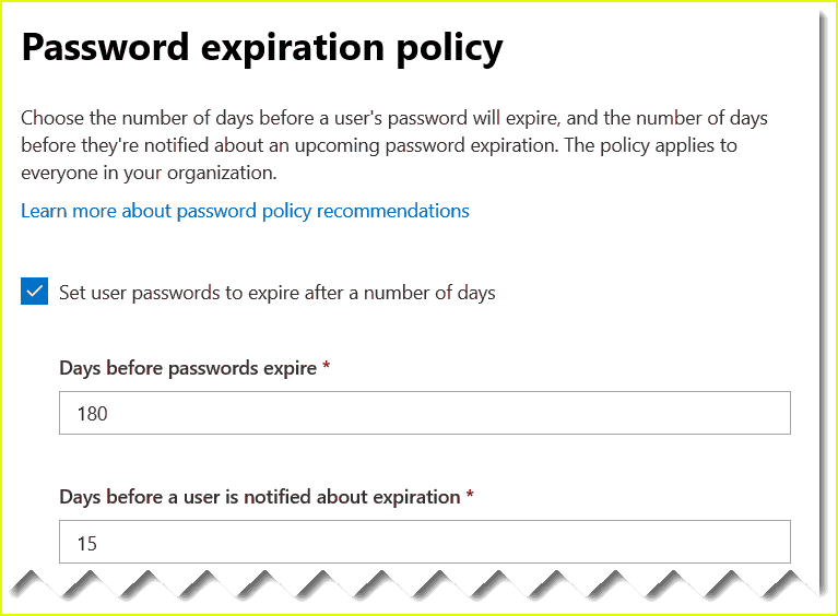 office 365 password policy