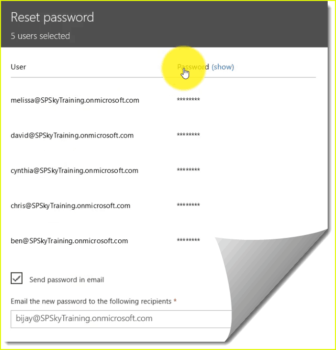 office 365 reset password of multiple users