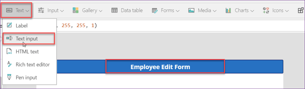 powerapps edit form item property
