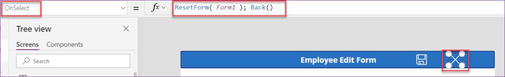 powerapps edit form items property