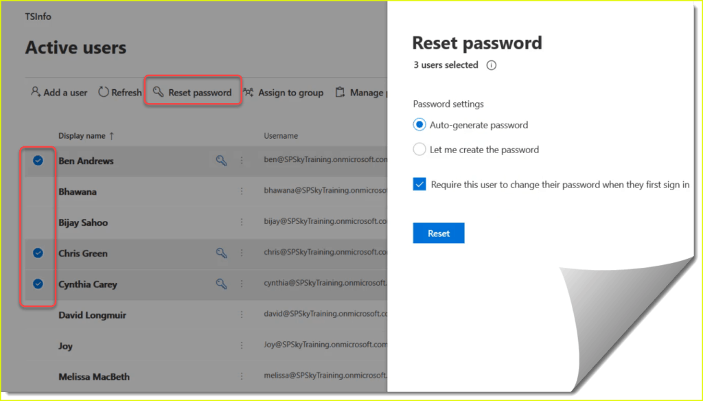 reset password office 365