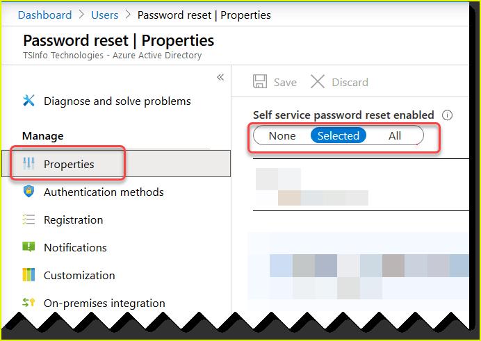 self service password reset azure