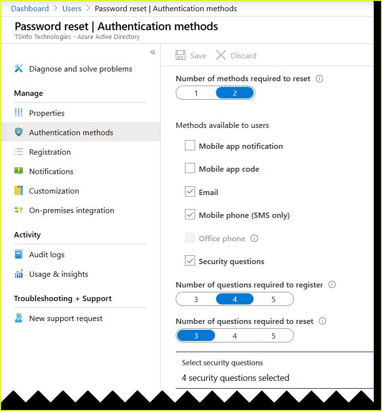 self-service password reset office 365