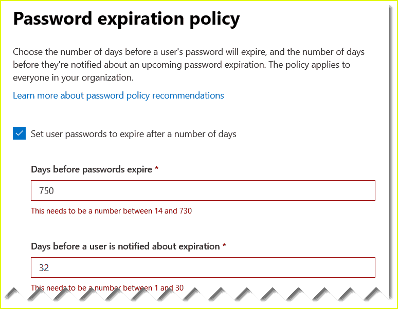 set an individual users password to never expire office 365