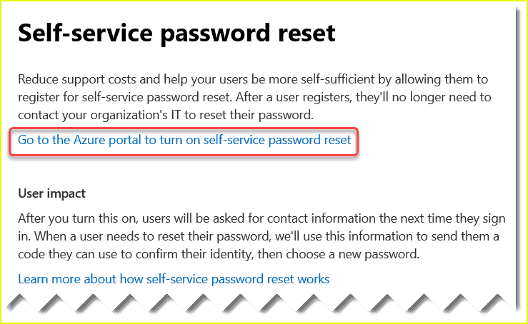 set up self-service password reset office 365