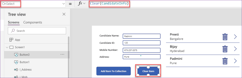 How to remove items from the PowerApps collection