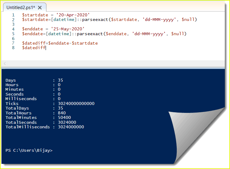 PowerShell get difference between two dates in days