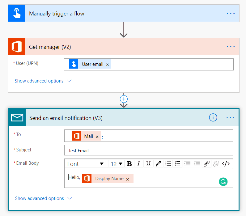 microsoft flow get manager email