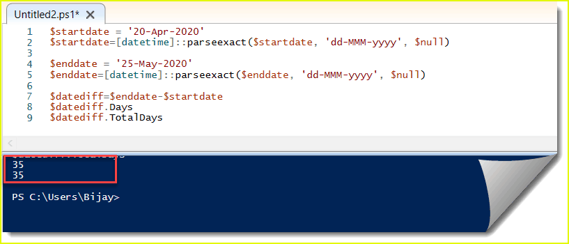 powershell get difference between two dates