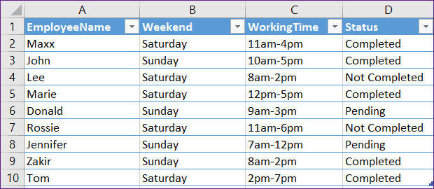 Create Data Table from Excel using PowerApps