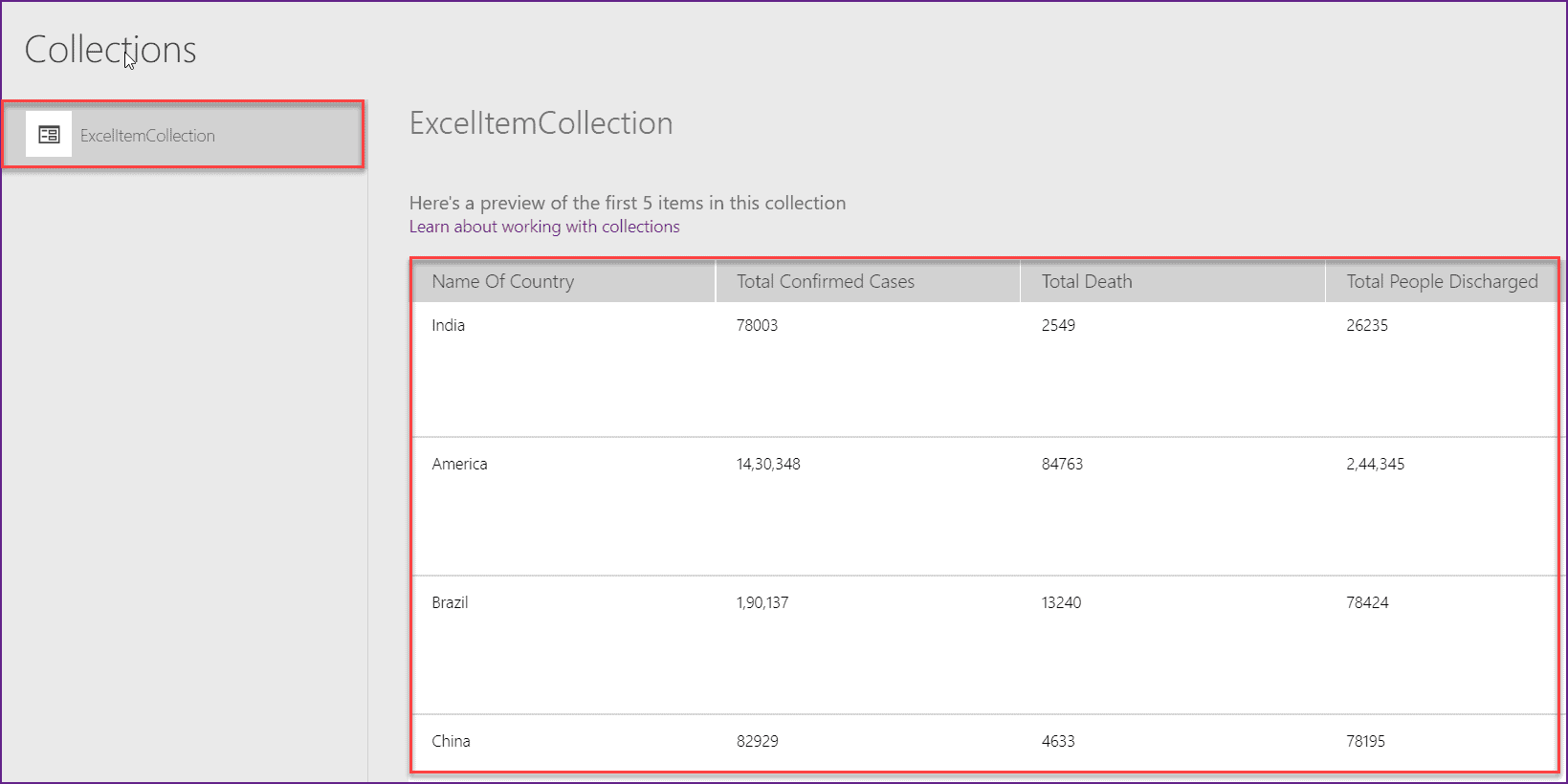 powerapps create collection from excel