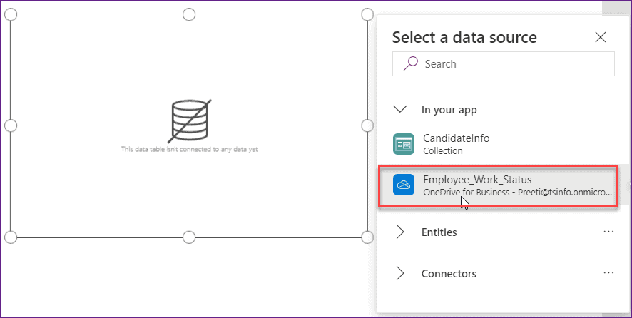 Create a Data Table from Excel in Power Apps
