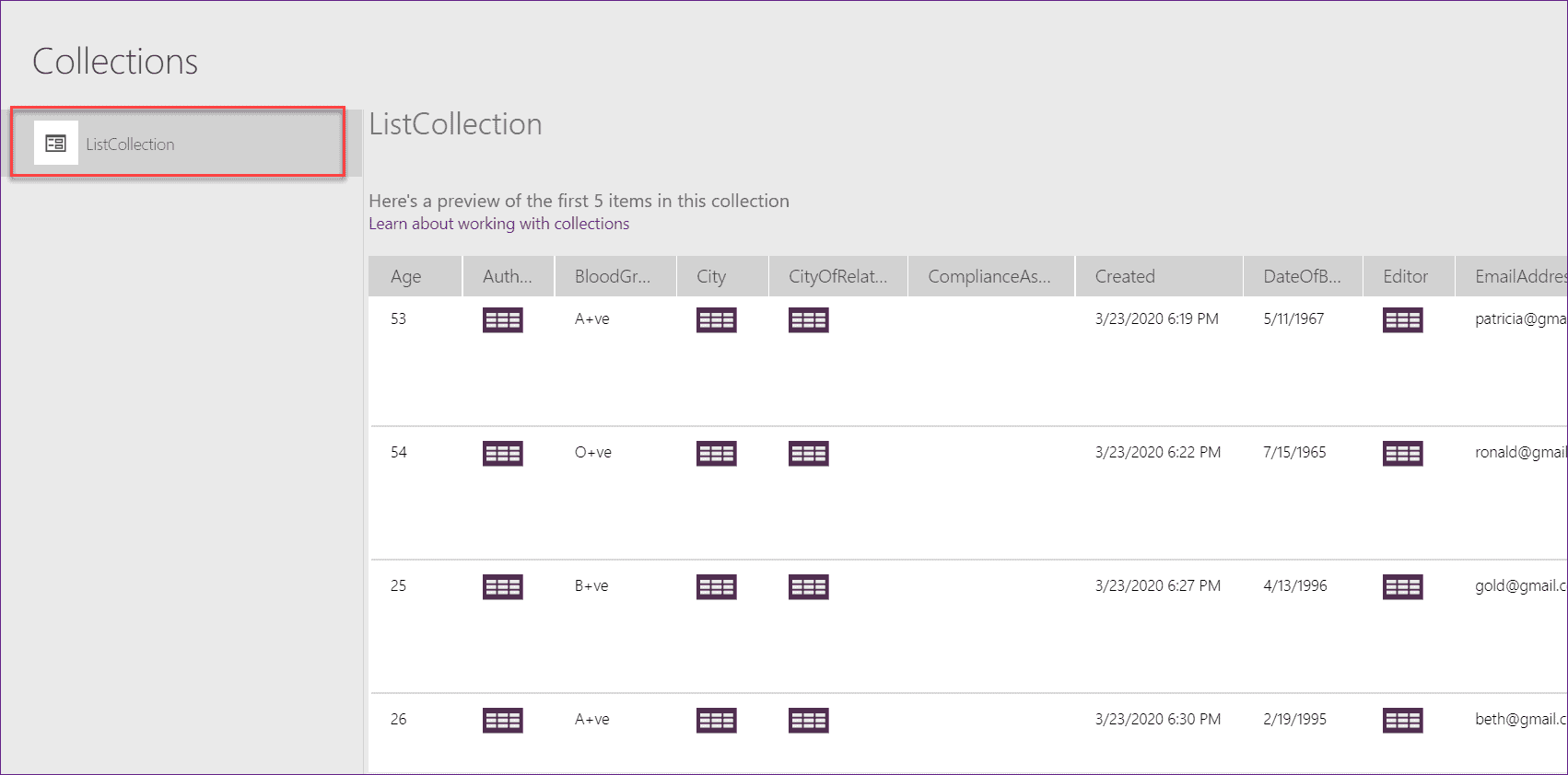 create collection from sharepoint list powerapps