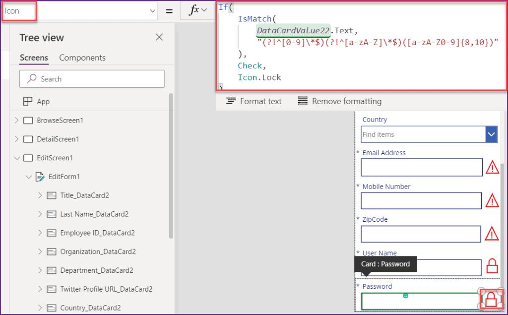 Poweerapps Password validation