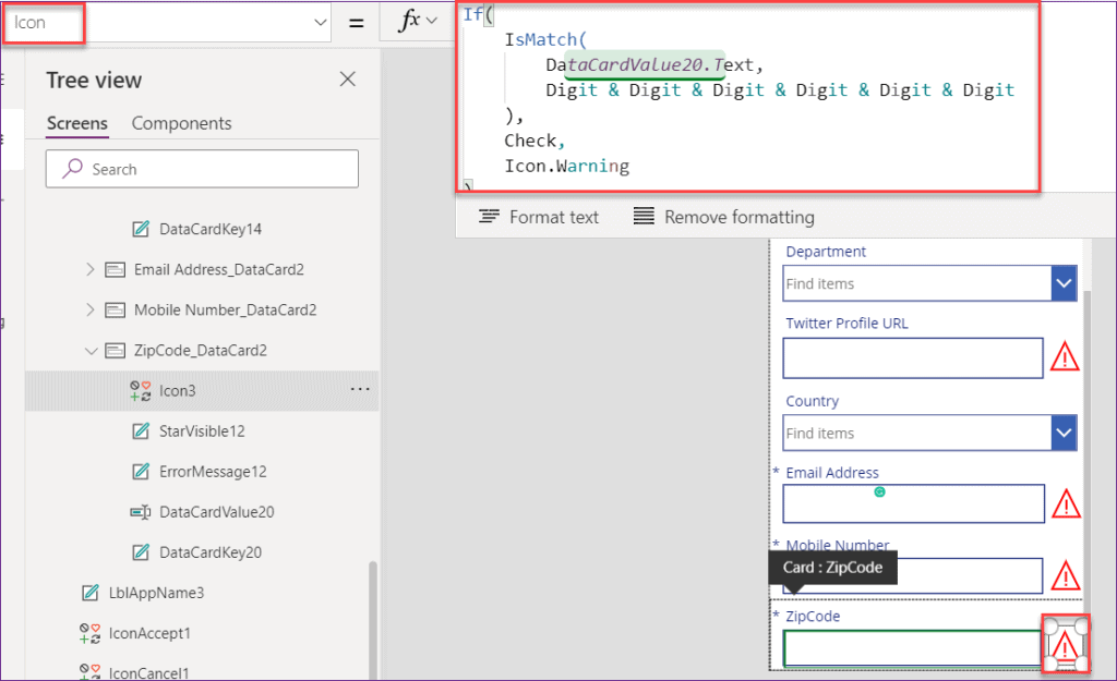 Powerapps Zip code validation