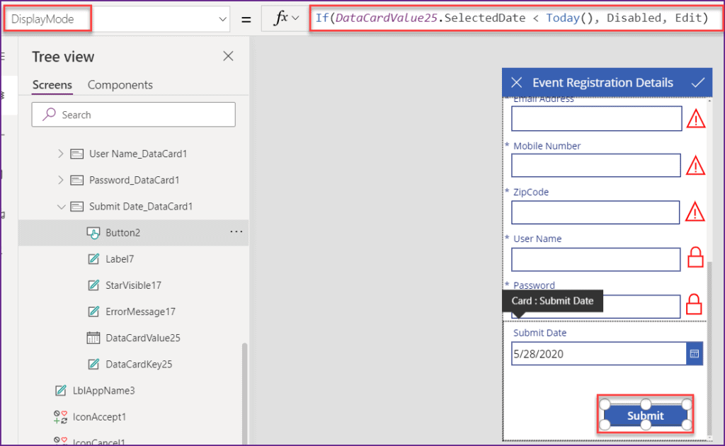Powerapps date field validation