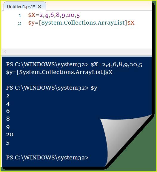 powershell create arraylist from array