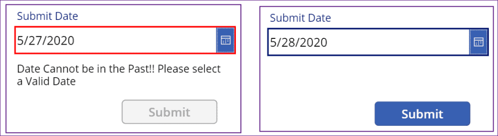 date validation in powerapps
