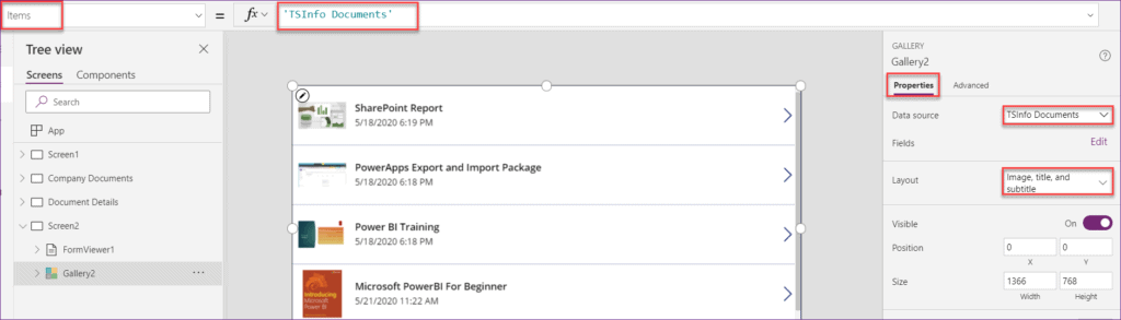 gallery control in powerapps