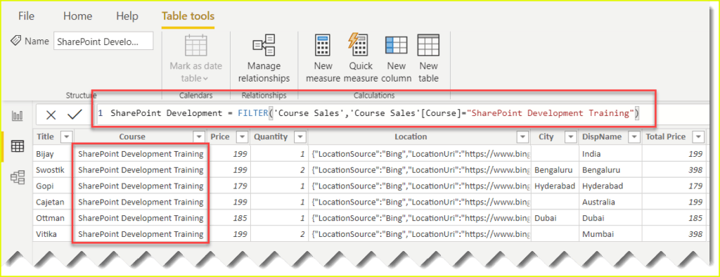 how to create calculated table power bi dax