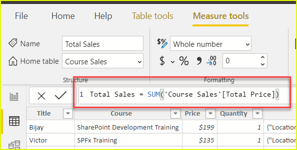 power bi calculated measure