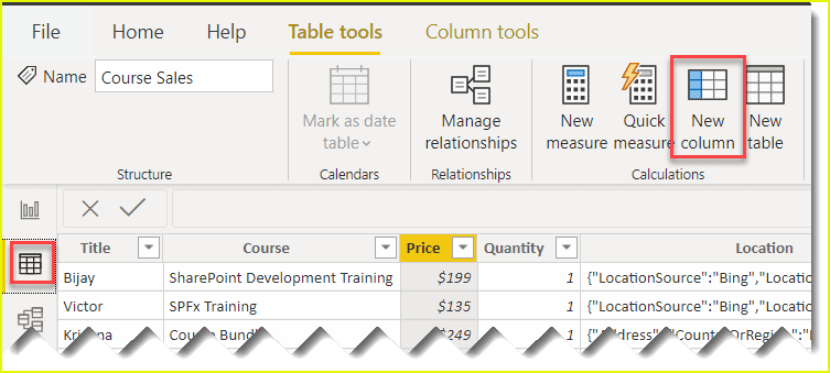 power bi dax calculated column