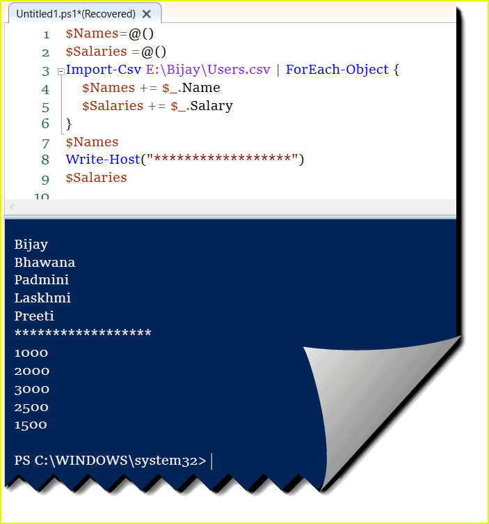 powershell create array from csv