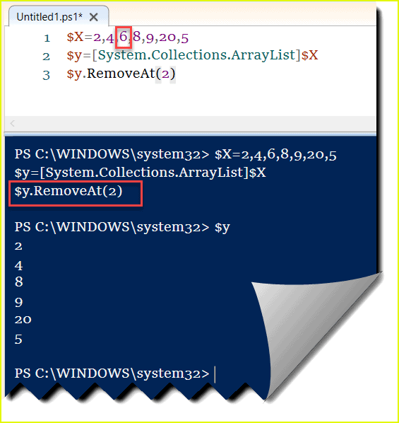 Remove element from PowerShell ArrayList