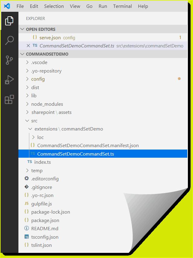 sharepoint framework listview command set extension