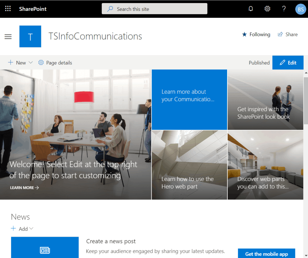 sharepoint online communication site design