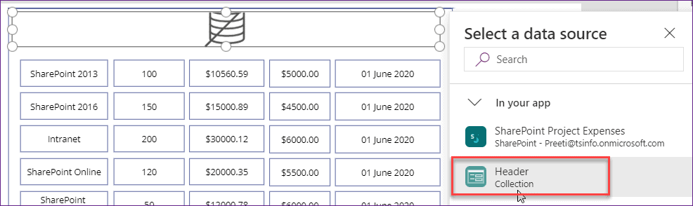 Create Header In PowerApps grid view