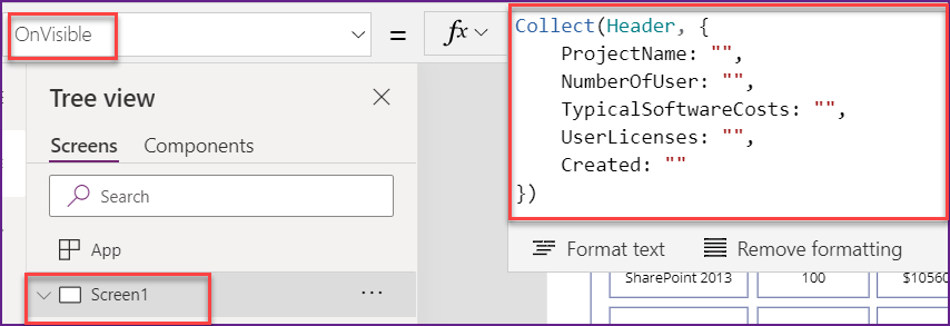 Create a Header In PowerApps grid view