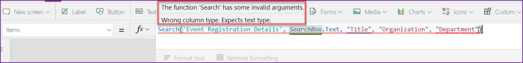 The function 'search' has some invalid arguments powerapps