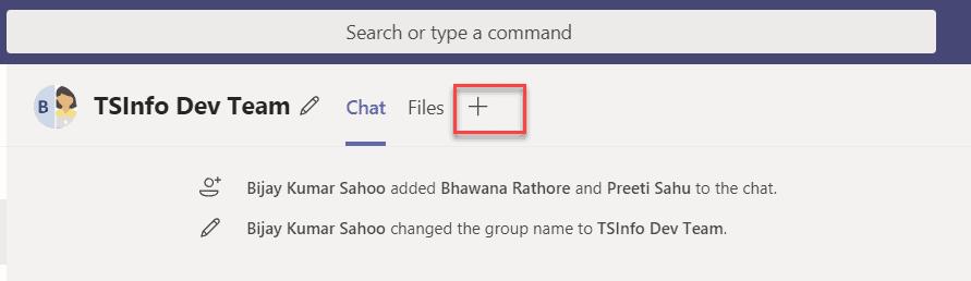 add tab in group in teams