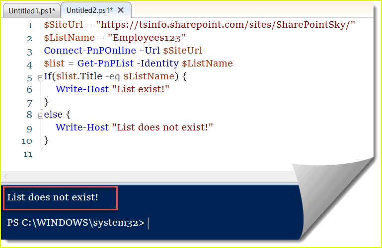 check if a list exists in SharePoint site using PNP PowerShell