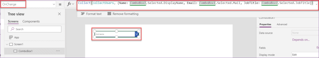 create Collection in powerapps person field